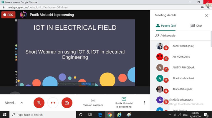 "Webinar on ""Use of IOT in Electrical Engineering"""